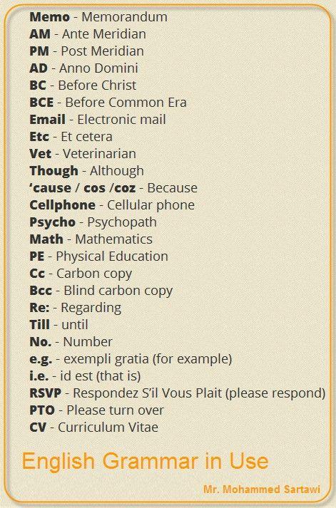 englisgh-abreviaciones